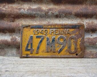 Vintage License Plate Vehicle Tag 1949 Pennsylvania PA License Plate Man Cave Garge Industrial Rat Rod Mechanics Rustic Barn Pick Metal Sign