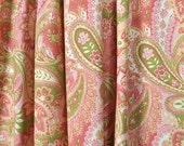 Custom Window Treatments - Drapery Panels, Roman Shades, & Valances // Pink and Lime Green Paisley