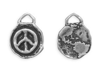 Sterling Silver Oxidized Reversible Peace Earth Planet Charm