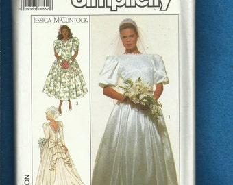 Vintage 1989 Simplicity 9050 Designer Jessica McClintock Wedding Gown Size 14 UNCUT
