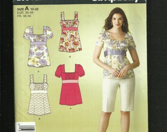 Simplicity 2964 Square Neckline Empire Waist Tops for the Summer & You Sizes 10 to 22