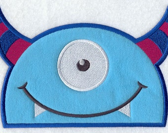 Peeking One Eyed Monster Embroidered Patch, Sew or Iron on
