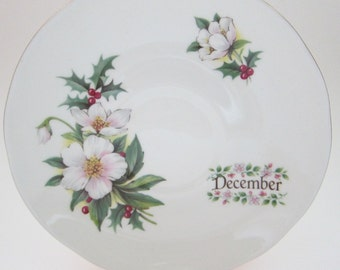 December Saucer Holly Berries and White Flower Vintage Crown Trent Staffordshire Fine Bone China