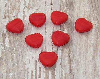 Red 10mm Heart Bead Czech Glass Matte CANDY HEARTS (18)