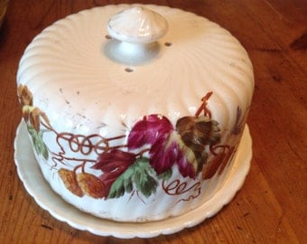 Vintage Cheese Keeper, Covered Dish, Butter Dish, Hand Painted Porcelain