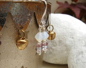 White & Quartz Stack Earrings - Chic Silver Drops - Amethyst Purple, Blue and Pink.