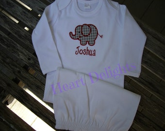 Monogrammed Personalized Infant Baby Boy Baby Girl Newborn Gown Applique  Elephant