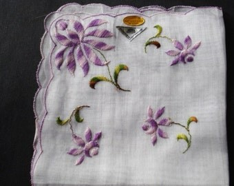 Wonderful  Original labels still on UNUSED VINTAGE HANKIE -  Shades of Purple Color Flowers