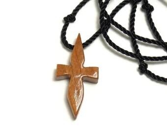 Cross Necklace Men - Mens Cross Necklace - Minimalist Cross Necklace - Wood Cross - Cross Pendant Men - Cherry Hardwood - Necklaces for Men