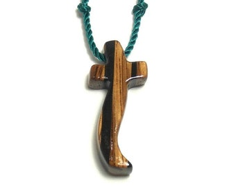 Wooden Cross Necklace, Wooden Cross Pendant, Mens Cross Necklace, Cross Necklace, Wood Cross Pendant, Husband Gift, Mens Jewelry Cross