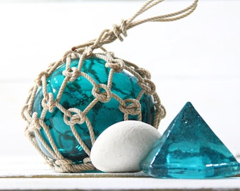 Beach Decor Set: Green Glass Deck Prism and Glass Fishing Float in Rope by SEASTYLE