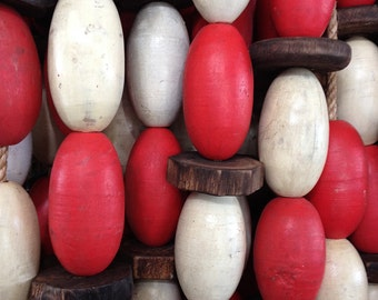 Beach Decor Vintage Red and White  Lobster Buoy Nautical Wooden by SEASTYLE