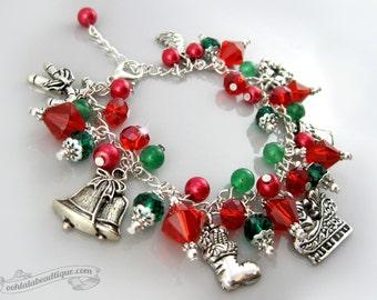 Christmas bracelet, holiday jewelry, Santa bracelet, christmas jewelry, holiday bracelet, charm bracelet, holiday gift, Santa jewelry charms