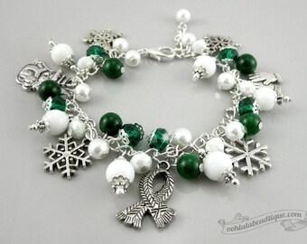 Winter bracelet, christmas jewelry, snowflake bracelet, holiday jewelry, christmas gift, winter charm bracelet, snowman charms, holiday gift