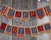 BBQ Birthday Banner - Fourth of July - Independence Day - Bunting Banner - Backyard BBQ  - Printable (July 4th, America, Patriotic, Vintage)