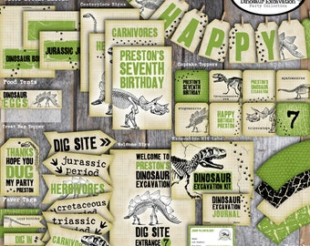 Dinosaur Party | Dinosaur Party Decorations | Dinosaur Birthday | Dinosaur Excavation | Dino Dig | Fossil | Set Kit Collection | Printable