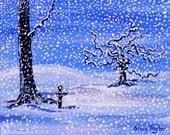 winter greeting card, snowstorm, winter wonderland, greeting card