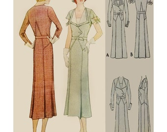 1930s Style Day Dress With Structered Art Deco Pointed Details Slim Skirt With Kick Pleats Custom Made in Your Size From a Vintage Pattern