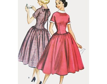 1950s Style Unique Backwards Collar Full Skirt Dress Custom Made in Your Size From a Vintage Pattern