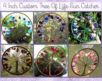 Custom 4 Inch Tree of Life Sun Catcher, Window Ornament, Plant Decoration