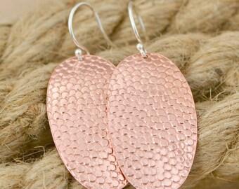 Copper Hammered Earrings - Copper Oval Earrings - Dangle Earrings - Copper Jewelry - Hammered Texture - Disk Earrings