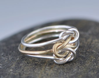 Triple Love Knot Ring - Silver Love Knot - Stacker Ring - Family Ring - Promise Ring - Sterling Silver - Bridesmaid Jewelry