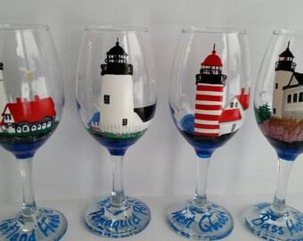 Lighthouse, coastal, Custom wine Glass, hand painted