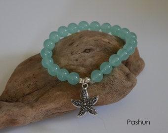 Seashell Jewelry … Seafoam Sea Glass With Starfish ... Yoga Stretch Bracelet (1187)