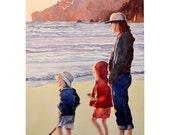 Watercolor  ORIGINAL Sunset Watching-beach vacation sea ocean shore souvenir family sand fun