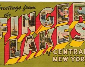 Linen Postcard, Greetings from the Finger Lakes of Central New York, Large Letter