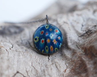 Soldered Millefiori Pendant, Soldered Necklace, Blue Flower Necklace, Marble Pendant, Glass Pendant