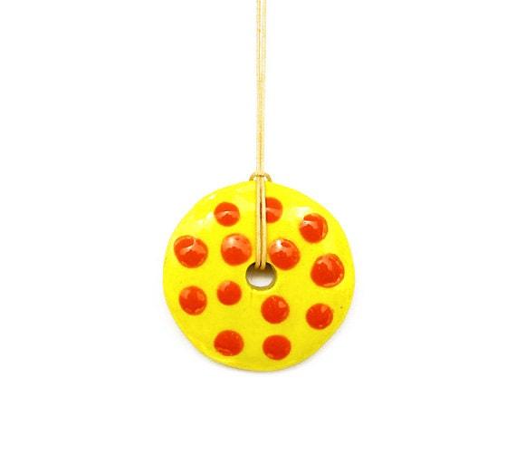 Yellow Ceramic Pendant, Yelow and Orange, Polka Dots, Geometric Pendant, Circle Pendant