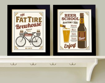 Beer Art Grouping Bar Sign Lager Ale Craft Beer Antique Bicycle Art Bike Shop Fat Tire Mans Gift