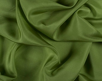 "45"" Wide 100% Silk Crepe de Chine Apple Green by the yard"