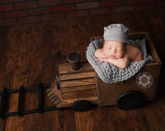 Baby boy, newborn boy train hat, newborn boy hat, Train Conductor hat, train engineer hat, newborn, train photo props, Toddler Train Hat