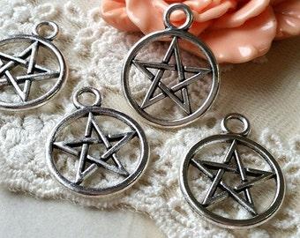 20 mm Tibetan Silver Pentagram Charm Pendants (.tc)