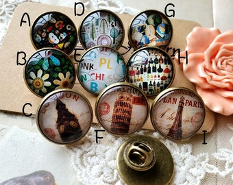 20 mm Antiqued Bronze Brooch Findings (Pin Back) with Colorful Photo Cabochons of Assorted Patterns (.ccg)