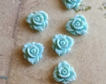 12 mm Light Blue Color Resin Rose Flower Cabochons (.sm)