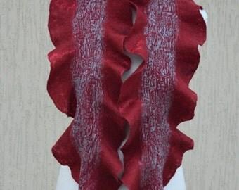 Dark red nuno felted scarf Oxblood red scarf felt scarf felted collar