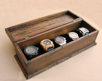 Personalized Rustic Men's Watch Box for 5 watches