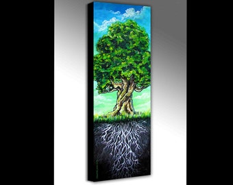 Tree of Life | Tree Artwork | Tree With Roots | Canvas Art Print | Tree Canvas Art | Oak Tree Painting | Oak Tree Art | Woodsy Decor