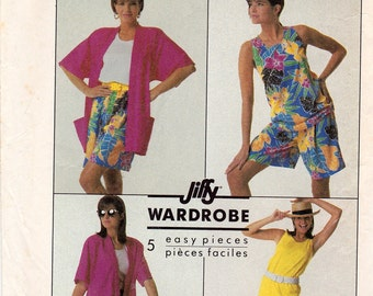 Vintage 1987 SIMPLICITY #8115  5 Piece JIFFY WARDROBE  Pattern Sz Misses 8-14 Uncut Factory Folded
