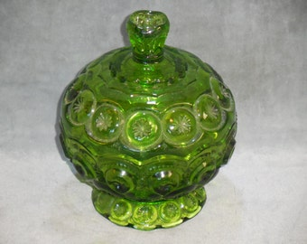 Vintage Moon and Stars Green Glass Covered Candy Bowl