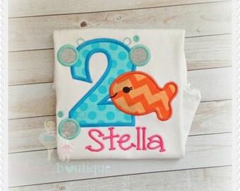 Goldfish birthday shirt - girls fish birthday shirt - 1st birthday goldfish shirt - birthday shirt with bubbles - personalized shirt