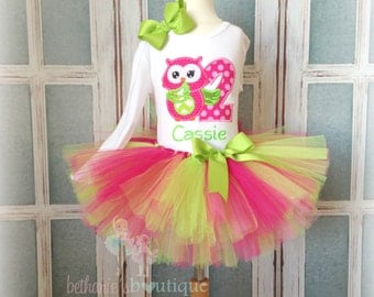Owl birthday outfit - green and pink owl birthday tutu outfit - 1st birthday owl tutu outfit - owl themed birthday outfit - woodland themed