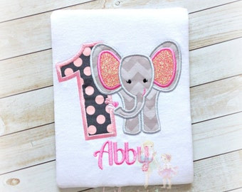 Elephant birthday shirt- first birthday elephant shirt- pink and gray elephant shirt- zoo themed- safari themed shirt- 1st birthday shirt