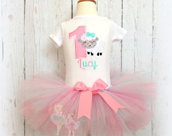 Lamb birthday outfit - 1st birthday - Easter tutu outfit - First birthday tutu - First Easter outfit - Custom embroidered tutu outfit