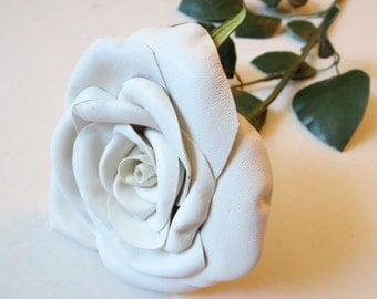 White Leather Rose, Wedding, 3rd Anniversary Gift, Long Stem Flower, Valentines Day