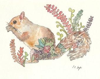 Watercolor Squirrel, woodland creature, Original Watercolor Painting, 8x10, brown, grey, coral, green, flowers