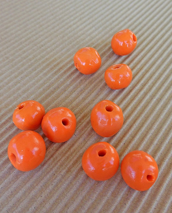 Polymer Clay Beads Orange Beads Round Beads Polymer